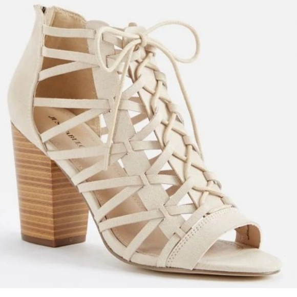 d5d5aaf848c9d Heeled sandals strappy cream just fab shoes 8